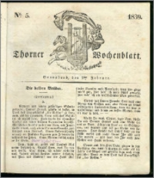 Thorner Wochenblatt 1839, Nro. 5 + Beilage, Thorner wöchentliche Zeitung