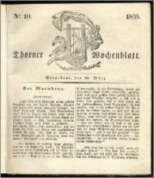 Thorner Wochenblatt 1839, Nro. 10 + Beilage, Thorner wöchentliche Zeitung