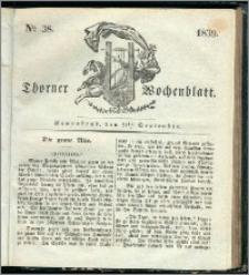 Thorner Wochenblatt 1839, Nro. 38 + Beilage, Thorner wöchentliche Zeitung