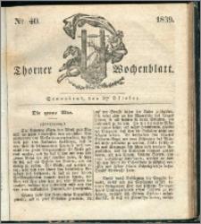 Thorner Wochenblatt 1839, Nro. 40 + Beilage, Thorner wöchentliche Zeitung