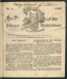 Thorner Wochenblatt 1840, Nro. 1 + Beilage, Thorner wöchentliche Zeitung