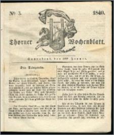 Thorner Wochenblatt 1840, Nro. 3 + Beilage, Thorner wöchentliche Zeitung