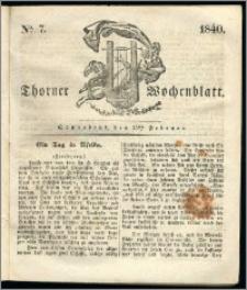 Thorner Wochenblatt 1840, Nro. 7 + Beilage, Thorner wöchentliche Zeitung