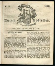 Thorner Wochenblatt 1840, Nro. 8 + Beilage, Thorner wöchentliche Zeitung