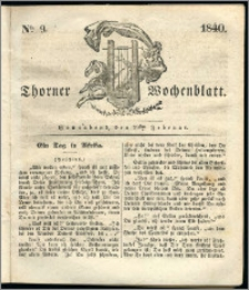 Thorner Wochenblatt 1840, Nro. 9 + Beilage, Thorner wöchentliche Zeitung
