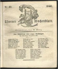 Thorner Wochenblatt 1840, Nro. 10 + Beilage, Thorner wöchentliche Zeitung