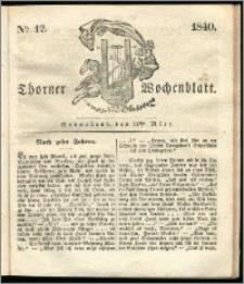 Thorner Wochenblatt 1840, Nro. 12 + Beilage, Thorner wöchentliche Zeitung