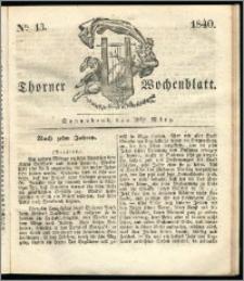 Thorner Wochenblatt 1840, Nro. 13 + Beilage, Thorner wöchentliche Zeitung