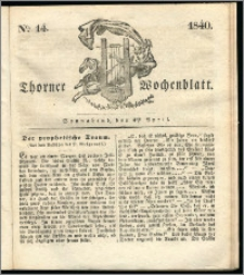 Thorner Wochenblatt 1840, Nro. 14 + Beilage, Thorner wöchentliche Zeitung