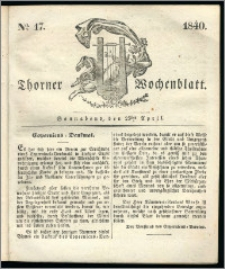Thorner Wochenblatt 1840, Nro. 17 + Beilage, Thorner wöchentliche Zeitung