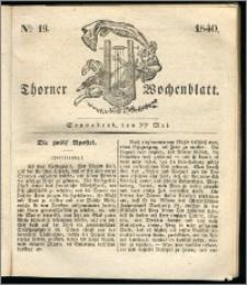 Thorner Wochenblatt 1840, Nro. 19 + Beilage, Thorner wöchentliche Zeitung