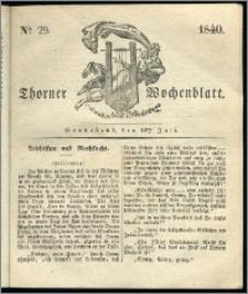Thorner Wochenblatt 1840, Nro. 29 + Beilage, Thorner wöchentliche Zeitung