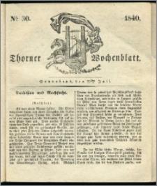 Thorner Wochenblatt 1840, Nro. 30 + Beilage, Thorner wöchentliche Zeitung