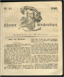 Thorner Wochenblatt 1840, Nro. 43 + Beilage, Thorner wöchentliche Zeitung