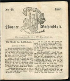 Thorner Wochenblatt 1840, Nro. 49 + Beilage, Thorner wöchentliche Zeitung
