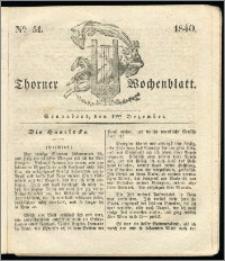 Thorner Wochenblatt 1840, Nro. 51 + Beilage, Thorner wöchentliche Zeitung