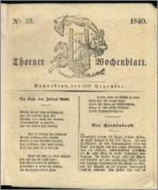 Thorner Wochenblatt 1840, Nro. 52 + Beilage, Thorner wöchentliche Zeitung