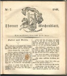 Thorner Wochenblatt 1841, Nro. 7 + Beilage, Thorner wöchentliche Zeitung
