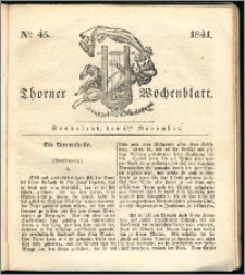 Thorner Wochenblatt 1841, Nro. 45 + Beilage, Thorner wöchentliche Zeitung