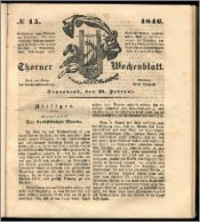 Thorner Wochenblatt 1846, No. 15 + Zweite Beilage