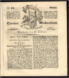 Thorner Wochenblatt 1847, No. 12 + Beilage