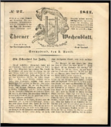 Thorner Wochenblatt 1847, No. 27 + Beilage