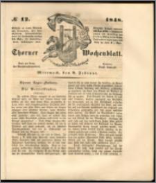 Thorner Wochenblatt 1848, No. 12 + Beilage
