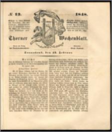 Thorner Wochenblatt 1848, No. 13 + Beilage
