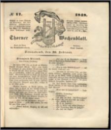 Thorner Wochenblatt 1848, No. 17 + Beilage