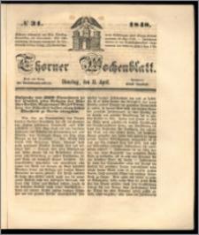 Thorner Wochenblatt 1848, No. 31 + Beilage