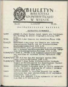 Biuletyn Biblioteki Uniwersyteckiej w Wilnie 1936/1937 nr 14