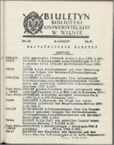 Biuletyn Biblioteki Uniwersyteckiej w Wilnie 1936/1937 nr 16