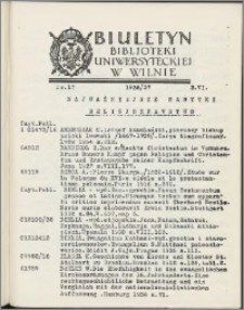 Biuletyn Biblioteki Uniwersyteckiej w Wilnie 1936/1937 nr 17