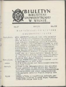Biuletyn Biblioteki Uniwersyteckiej w Wilnie 1937/1938 nr 17