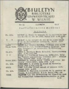 Biuletyn Biblioteki Uniwersyteckiej w Wilnie 1938/1939 nr 11