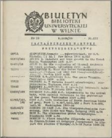 Biuletyn Biblioteki Uniwersyteckiej w Wilnie 1938/1939 nr 19