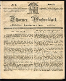 Thorner Wochenblatt 1849, No. 2 + Beilage