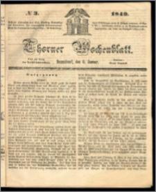 Thorner Wochenblatt 1849, No. 3 + Beilage