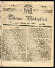 Thorner Wochenblatt 1849, No. 4 + Beilage