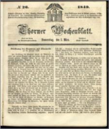 Thorner Wochenblatt 1849, No. 26 + Beilage