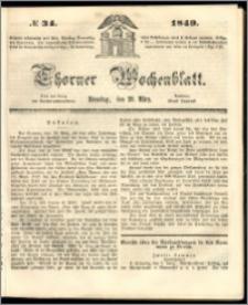 Thorner Wochenblatt 1849, No. 34 + Beilage