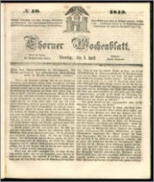 Thorner Wochenblatt 1849, No. 40 + Beilage