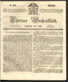Thorner Wochenblatt 1849, No. 42 + Beilage