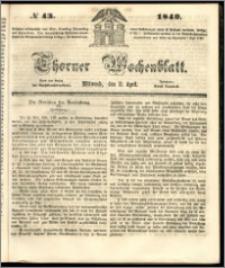 Thorner Wochenblatt 1849, No. 43 + Beilage