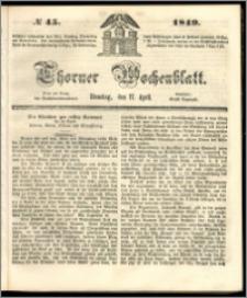 Thorner Wochenblatt 1849, No. 45 + Beilage