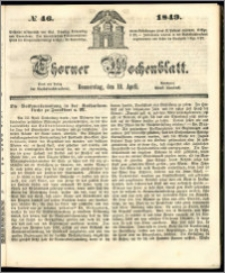 Thorner Wochenblatt 1849, No. 46 + Beilage