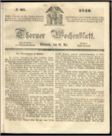 Thorner Wochenblatt 1849, No. 61 + Beilage