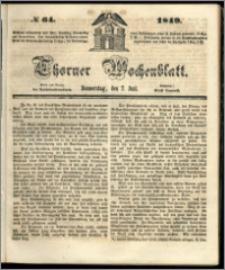 Thorner Wochenblatt 1849, No. 64 + Beilage