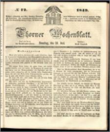 Thorner Wochenblatt 1849, No. 72 + Beilage