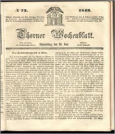Thorner Wochenblatt 1849, No. 73 + Beilage